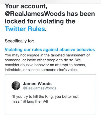 James Woods explains why he WON'T be back on Twitter after ...