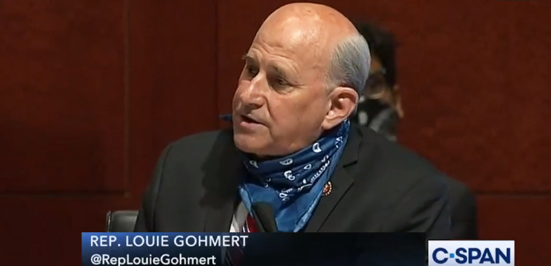 Louie Gohmert sporting the mask the press said he refused to wear