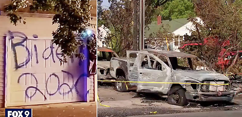 """BIDEN 2020"" – Home of Trump supporters targeted, three cars and garage TORCHED and destroyed over Trump sign"