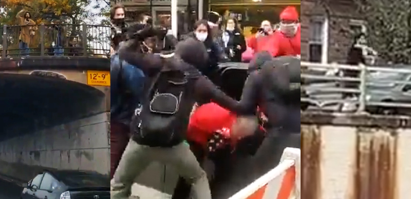 Deranged Libs throw ROCKS and EGGS at JEWS for Trump in NYC! Attack in cars and on street! And are PROUD of it!