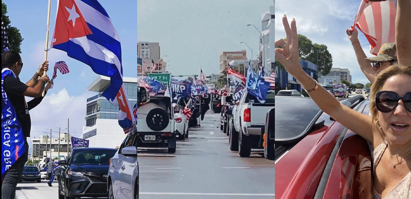 THOUSANDS of cars for Trump join MASSIVE Latino and Cuban-American 'Caravan Against Communism' in Miami