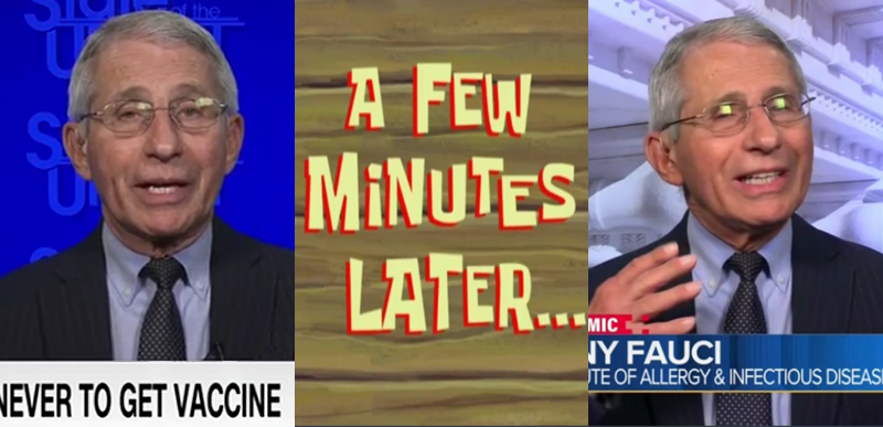 WAT? FAUCI tells Dana Bash one thing on vaccines & masks, disagree with himself to Chuck Todd MINUTES LATER