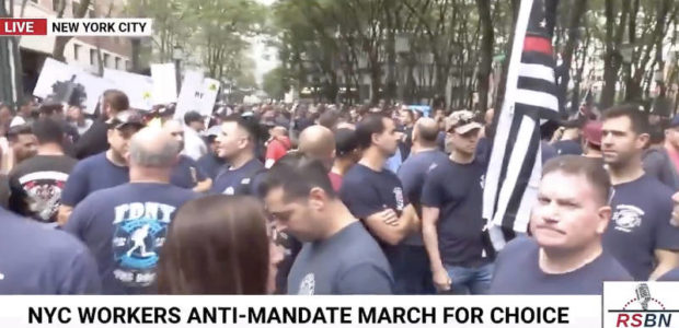 """WATCH: Over 10,000 workers march and protest vaccine mandate in NYC, chant """"Let's Go Brandon!"""""""